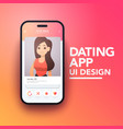 trendy mobile tinder dating app on smartphone vector image