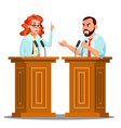 two doctor argue behind the tribune with vector image vector image