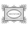 vintage grayscale floral frame in a lineart style vector image