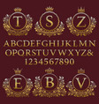 vintage monogram kit letters numbers and frames vector image vector image