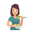woman eating healthy tasty meal girl eats vector image vector image