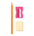 wooden pencil pink sharpener and beige rubber set vector image