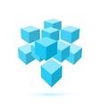 Blue cube icon Logo template vector image