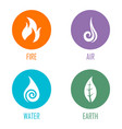 abstract four elements symbols on circles vector image