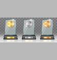 acrylic glass trophy award mockup set vector image