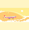 airplane flying over clouds flat design vector image