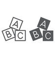 alphabet cubes line and glyph icon abc and toy vector image