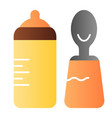 baby bottle and spoon flat icon bottle with teat vector image