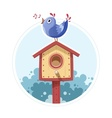 Bird sit and sing on nesting vector image vector image