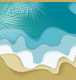 blue ocean and palm branch flat design vector image vector image