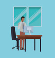 business people and office elements vector image vector image
