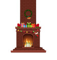 cartoon decorated burning fire place with many vector image vector image