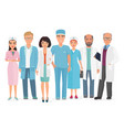 cartoon of group of doctors vector image vector image