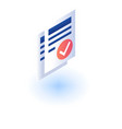 checked paper icon isometric style vector image vector image