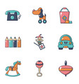 children toys icons set flat style vector image