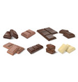 chocolate pieces realistic dark bars and chunks vector image vector image