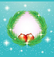 christmas fir wreath with red balls vector image vector image