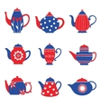 Colorful tea pots collection vector image vector image