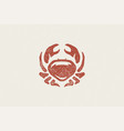 crab silhouette for logo and emblem design hand vector image
