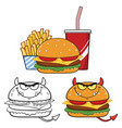 devil burger cartoon character design collection vector image vector image
