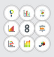 flat icon graph set of pie bar easel monitoring vector image