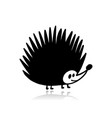 funny hedgehog black silhouette for your design vector image vector image
