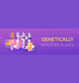 genetically modified plants concept banner header vector image vector image