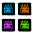 glowing neon bottles wine in a wooden box icon vector image vector image