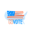 Go vote primitive flag on grundy US map background vector image
