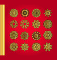 golden snowflakes on red background vector image vector image