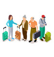 group tourists isometric young and old vector image