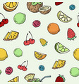 hand drawn fruits and berries seamless vector image