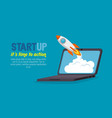 laptop with launcher rocket vector image vector image