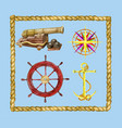 marine set with nautical objects and rope frame vector image vector image