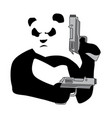 panda with guns2 vector image vector image