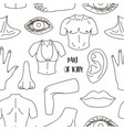 part of body set icons pattern vector image vector image