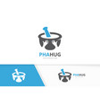 pharmacy and hands logo combination vector image vector image