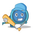 playing baseball tape measure character cartoon vector image