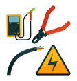 pliers near electric rope and warning sign set on vector image vector image
