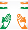 praying in hand india flag color vector image vector image