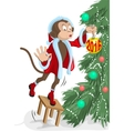 Santa monkey hangs on the Christmas tree ball in vector image vector image