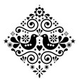 scandinavian floral folk art design square vector image vector image