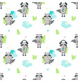 seamless pattern with cute funny raccoons vector image vector image