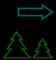 Self-illuminated Christmas trees with arrow vector image
