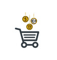 shopping cart icon with dollar euro and gold vector image