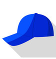 side view of blue baseball cap icon flat style vector image vector image