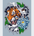 tiger tattoo design with decorative japanese backg vector image vector image
