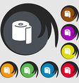 toilet paper icon sign Symbols on eight colored vector image