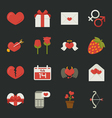 Valentines day icons love symbols flat design vector image vector image