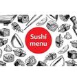 vintage sushi restaurant menu vector image vector image